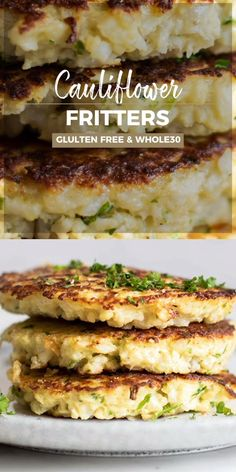 Apr 2019 - Crispy brown, lightly fried low carb cauliflower fritters make a great breakfast! This easy method produces fritters that crisp up perfectly. Flourless and keto cauliflower fritters. Cauliflower Patties, Cauliflower Fritters, Cauliflower Recipes, Cauliflower Cakes, Gluten Free Recipes, Low Carb Recipes, Vegetarian Recipes, Cooking Recipes, Healthy Recipes