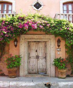 Flower trellis over door