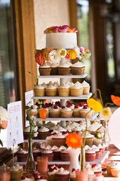 Autumn cupcake tower