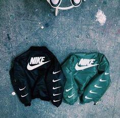 coat nike stripes black green bomber jacket