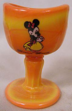 Old Fashion Orange Marble Slag Glass Eyebath Cup w/ Disney Minnie Mouse