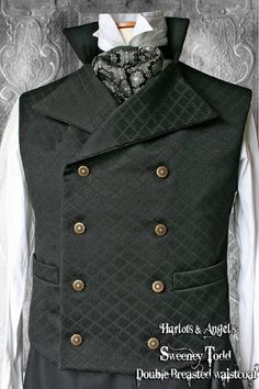 """44 -46"""" Steampunk double breasted Waistcoat / Vest 'Sweeney Todd' style BJQSWE25"""