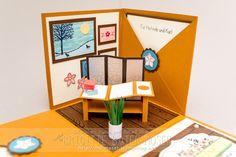 Explosionsbox als Gutschein für eine Massage. Hergestellt von Brigitte Baier-Moser mit Stampin'Up!