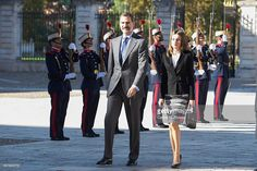 King Felipe VI of Spain and Queen Letizia of Spain attend the opening session of 'International Symposium about Carlos III' at the Aranjuez Royal Palace on November 7, 2016 in Aranjuez, Spain.