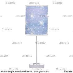 Winter Purple Blue Sky White Snowflakes Polka Dots Table Lamp