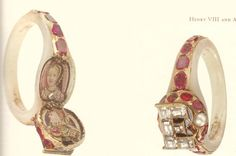 Queen Elizabeth's locket ring, which contained a hidden portrait of her mother, Anne Boleyn. Anne is portrayed with reddish-gold hair in this portrait.