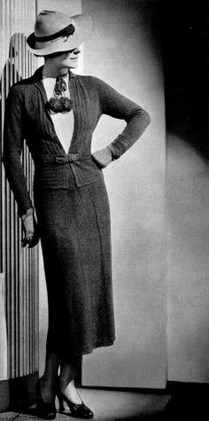 "Gorgeous 30s ""Steeplechase Suit"" Sizes 34-36 Knit & Crochet PDF Pattern - INSTANT DIGITAL Download,  Eco Friendly"