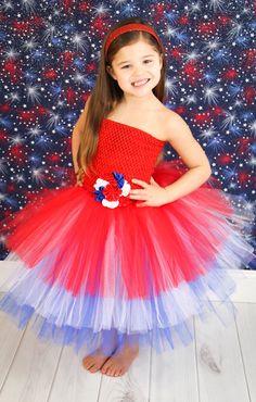 Newborn - Size 9 Red, White, and Blue Patriotic Layered Tutu Dress