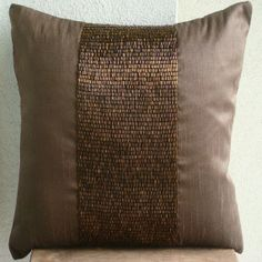 Center Stage - Throw Pillow Covers - 16x16 Inches Silk Dupion Pillow Cover Embellished with Sequins