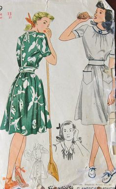 I like the illustration of this one. 1940's Simplicity Dress Pattern - Bust 31