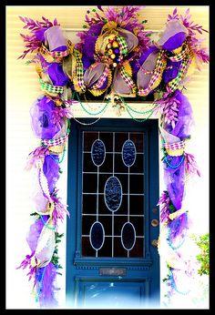 Fabulous Mardi Gras decorated door