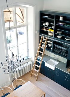 Oscar Properties #oscarproperties  Lyceum, Oscar Properties, Stockholm, design, desk, interior, design, sofa,, window, food, flos, lamp, green, ladder