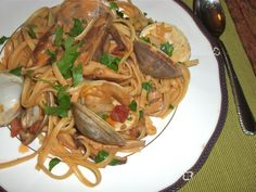 Flavorful Linguine with Clams, Pancetta, and Shiitake Mushrooms {Via Stranded Foodie}