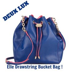 "DEUX LUX ! Elle Drawstring Bucket Bag !   Crossbody bucket bag with drawstring ! Adjustable strap 21"" to 25"" drop ! Drawstring closure ! Fully lined ! Includes dust bag ! 9""W by 11""H by 4"" D ! Faux leather ! Color is "" Navy Blue "" ! Beautiful ! Deux Lux Bags"