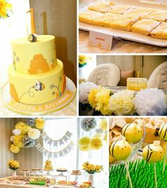 Honeybee Twin Birthday Party via Kara's Party Twin Birthday Parties, Twin First Birthday, Baby Birthday, Birthday Party Themes, Theme Parties, Birthday Ideas, Bumble Bee Birthday, Bee Cakes, Fiestas Party