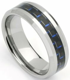 Men's Tungsten Ring/ Wedding Band with Blue Carbon Fiber Inlay, Sizes 7 - 12 by Men's Collections (rg5) Mens Collections. $13.95. Durable. 8mm wide, Weight- 14 grams. Comfort it. Tungsten Ring/Band. Black and Blue Carbon Fiber Inlay