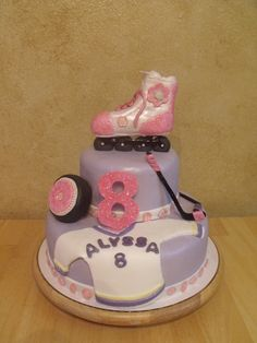 Roller Hockey cake#Hockey #cake #ahockeymomreviews Hockey Birthday, Birthday Cake, Hockey Cakes, Theme Cakes, Love Cake, Skate, Birthday Ideas, Birthdays, Charlotte