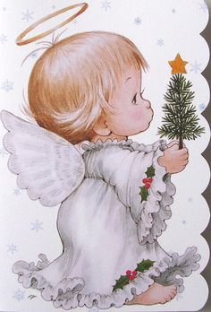 Morehead Baby Child Angel Halo Pine Tree Christmas Holiday Greeting Card New | eBay