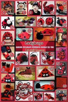 Ladybugs - Animal Crochet Pattern Round Up via @beckastreasures