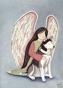 Siberian+Husky+with+Angel+/+Signed+Folk+Art+by+watercolorqueen,+$12.99