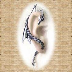 The Dragons Lure in Ear Cuffs from Jewellery. Like a whispering shoulder devil or a witchs familiar, this dragon piercing through the ear lobe, tempts Alchemy, Skulls, Pewter, Devil, Dragons, Piercing, Gothic, Brooch, Range