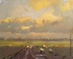 Roos Schuring: Yellow clouds evening and sheep. I'm bowled over by Roos Schurings ability to depict light conditions, to be able to catch those stunning brief moments.... sigh