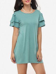 Falbala Round Neck Dacron Plain Shift-dress