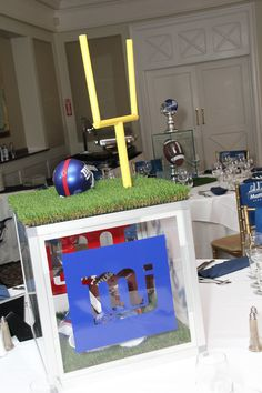 New York Giants Centerpieces for Football Bar Mitzvah by The Event of a Lifetime - mazelmoments.com