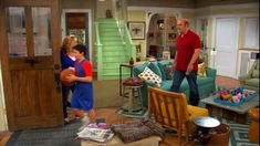 I love the Good Luck Charlie house - this pinned from hoked on houses. living room wide shot-new sofa and rug