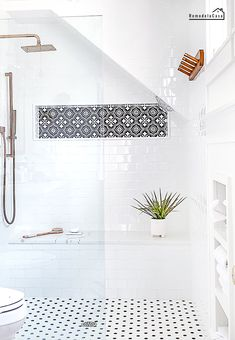 The Easiest Tile Project With The Biggest Impact - Modern farmhouse walk-in shower with subway tile, hex tile and Moroccan black and white decor tiles - Tile Shower Niche, White Subway Tile Shower, Black And White Tiles Bathroom, Subway Tile Showers, Master Bathroom Shower, Shower Tile Designs, Basement Bathroom, Bathroom Subway Tiles, Subway Tile Bathrooms