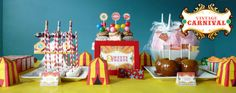 "Photo 1 of Circus/Carnival / Birthday ""Vintage Carnival Circus {Inspiration} Birthday Party"" Carnival Party Foods, Circus Carnival Party, Carnival Birthday Parties, Circus Birthday, Circus Theme, Birthday Ideas, Carnival Ideas, 3rd Birthday, Circus Circus"