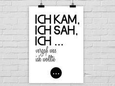 Originaldruck - Kunstdruck KAM SAH VERGAß - ein Designerstück von PrintsEisenherz bei DaWanda