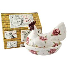 Emma Bridgewater Rose & Bee Hen on Nest Boxed for sale Fresh Chicken, Chicken Eggs, Emma Bridgewater Pottery, Wedding Gift List, Hens On Nest, Broody, Egg Holder, House Gifts, Nesting Boxes