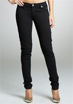 Stretch low-rise colored skinny jegging with faux front pockets.