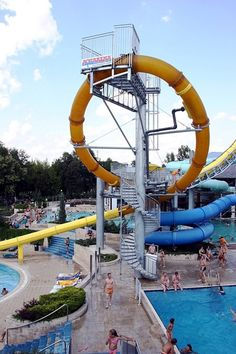 AquaLOOP   Terme 3,000 in Morvci, Slovenia  The first upside-down waterslide in the world, those brave enough to ride AquaLOOP stand over a trap door that drops out to thrust them down a 50-foot tunnel and through an inverted loop at a swift 40 miles per hour. The Austrian company that produced the slide in 2008 has since installed 20 identical rides across the globe.