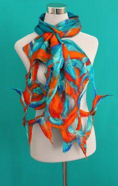 Turquoise Orange Silk Scarf - Silk Infinity Scarf - Summer scarf - Eternity Scarf - Lightweight Scarf - OOAK by FeltNunoFelted on Etsy