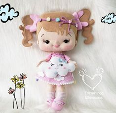 Felt Dolls, Stuffed Toys Patterns, Hello Kitty, Arts And Crafts, Baby, Dream Catchers, Instagram, Fabric Dolls, Applique Quilts