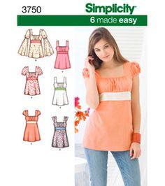 Simplicity Pattern 3750K5-Misses Tunic & Top-Sz 8-16: patterns: sewing: Shop | Joann.com