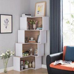 Furniture of America Pirra Contemporary Tiered Corner Display/Bookcase (Weathered Sand/White), Brown Furniture, Home Furniture Online, Room Design, Living Room Furniture, Home Decor, Furniture Of America, Corner Bookcase, Luxury Home Furniture, Living Room Designs