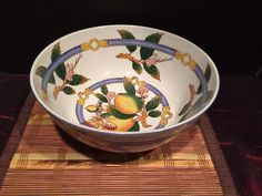 Vintage Asian Porcelain Large Decorative Bowl Fruit Flowers Butterfly Leaf 10""