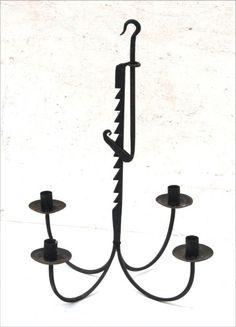 "Very nice 19thC wrought iron rare trammel adjustable shaft 4 candle chandelier in old surface - 18 1/2"" tall x 18"" diam"