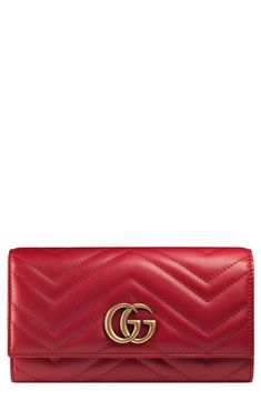 GG Marmont Matelassé Leather Continental Wallet GUCCI $790.00  In nude color