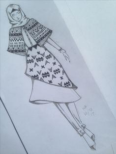 Hijab fashion sketch with batik motifs inspired by aztec tribal motifs Dress Design Drawing, Dress Design Sketches, Fashion Design Sketchbook, Fashion Design Drawings, Fashion Sketches, Fashion Drawing Dresses, Fashion Illustration Dresses, Fashion Illustration Tutorial, Fashion Figure Templates