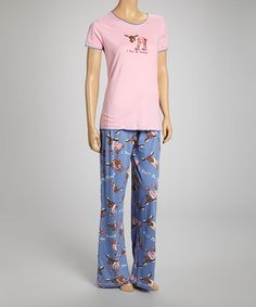 Pink 'I Don't Do Mornings' Moose Fitted Tee - Women by Lazy One $10.99
