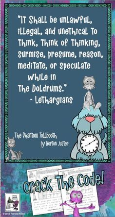 Phantom Tollbooth + Crack the Code Math challenges = great fun for grades 5-7!  No prep, just print and play.
