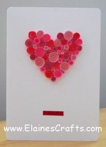 Valentines Day Card with paper quilling Quilled hearts and lips