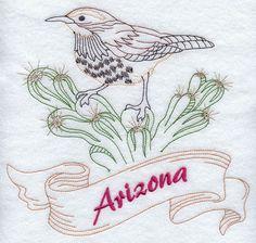 Arizona - Cactus Wren (Redwork)