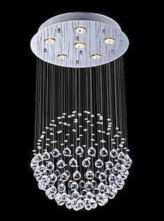 Saint Mossi Crystal Rain Drop Chandelier Modern  Contemporary Ceiling Pendant Light 6 GU10 LED Bulbs Required H32 X D18 *** Learn more by visiting the image link.