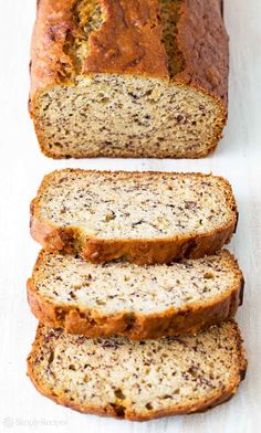 Easiest banana bread ever! No need for a mixer! Delicious and easy, classic banana bread recipe. Most popular recipe on SimplyRecipes.com #BananaBread #Baking #Banana