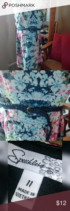 """Speechless Dress Pretty sleevless dress with belt. Zips in the back. In excellent like new condition. Size 11. (Medium)  Approximately 35"""" long from shoulder to hemline. Approx 20"""" wide from pit to pit.  * Accepting most offers * Bundle and save! Speechless Dresses"""